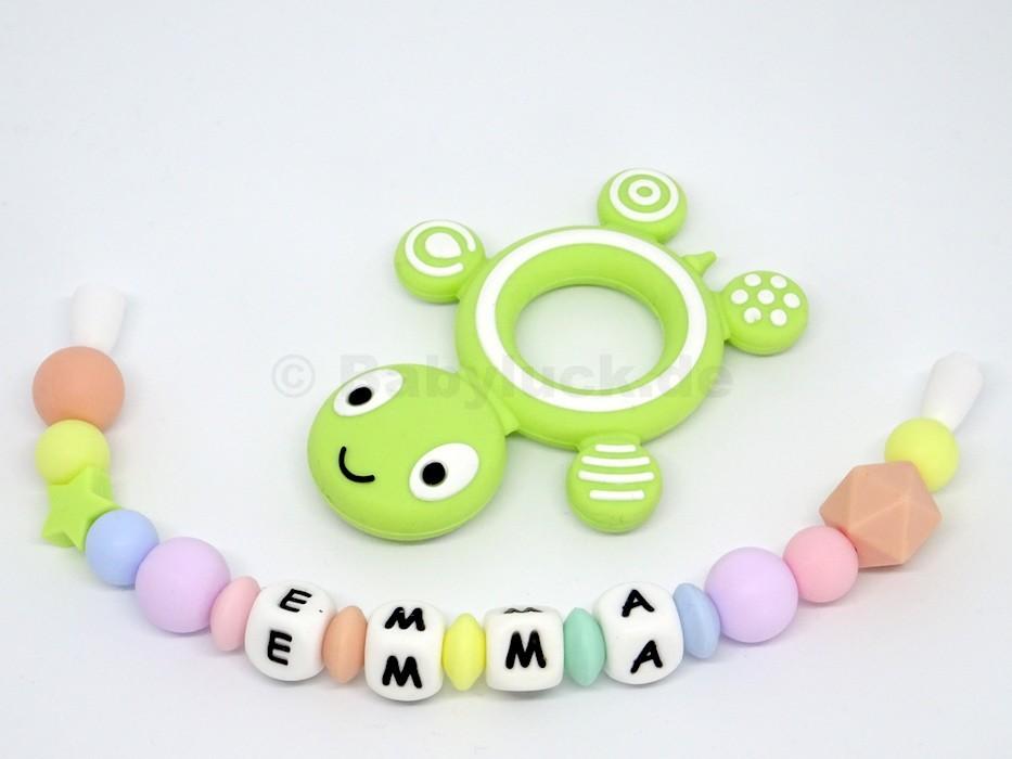 Greifling mit Name, Emma, Schildkröte grün Silikon, Teether, pastell
