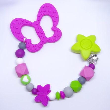 """Beißkette """"Marie"""" Pink-Grün"""