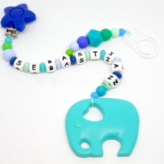 2-in-1 Kette mit Elefant und Name,Sebastian, türkis, blau, Clip, Jungen, Silikon, Teether, Schnullerkette, Beisskette