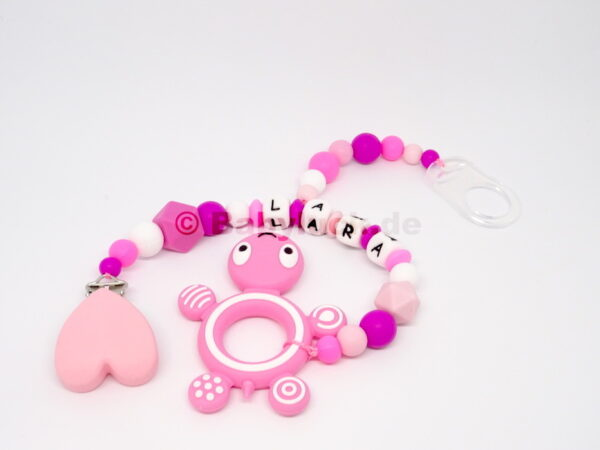 2-in-1 Kette mit Schildkröte und Name, rosa, pink, Mädchen