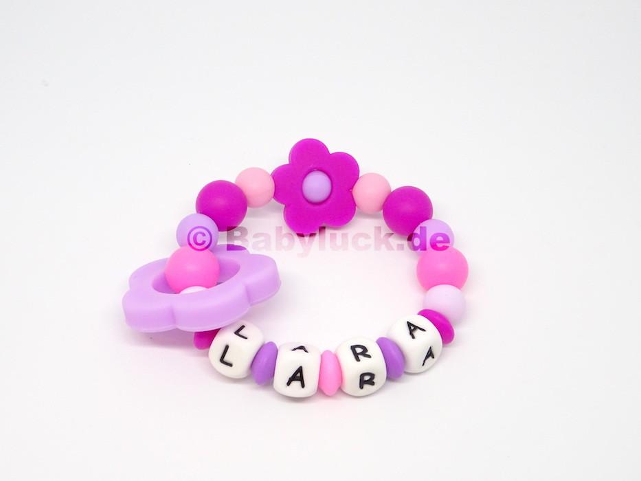 """Greifling """"Flower Power"""" pink, lila mit Name"""