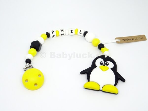 Beißkette mit Pinguin und Name, Silikon, Teether, Babyluck