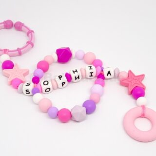 Maxicosikette, Maxicosi Kette, Lila, Pink, Rosa mit Name, Ring und Sternen, Name, Silikon, Teether, Babyluck