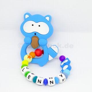 Greifling mit Name, Lenny, Waschbär blau, skyblau, Babywaschbär, Waschbärenfamilie, Silikon, Teether