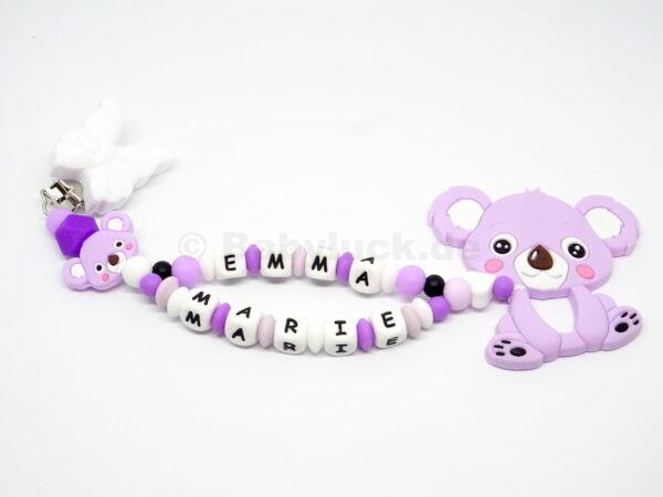 Silikon Beisskette mit Doppel Name für Mädchen, Babyluck, Koala